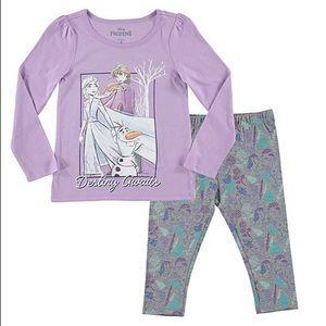 Frozen Purple Long Sleeve Crewneck Tee & leggings